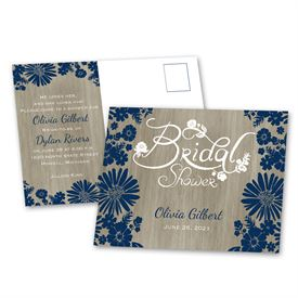 Bridal Shower Postcard Invitations: Rustic Chic Bridal Shower Postcard