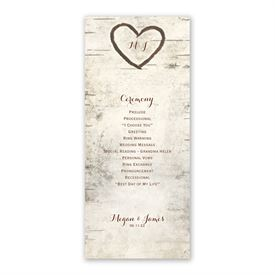 Birch Tree Carving Wedding Program