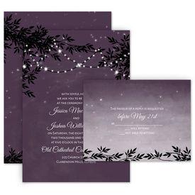 Wedding Invites Free Respond Cards: String of Lights Invitation with Free Response Postcard