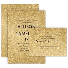 Elegant Wedding Invitations: Glitter Illusion Invitation with Free Response Postcard