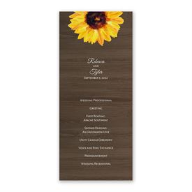 Country Sunflowers Wedding Program