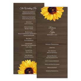 Wedding Programs: Country Sunflowers Wedding Program