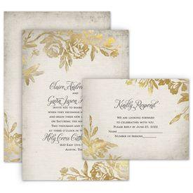 Floral Wedding Invitations: Rustic Glam Invitation with Free Response Postcard