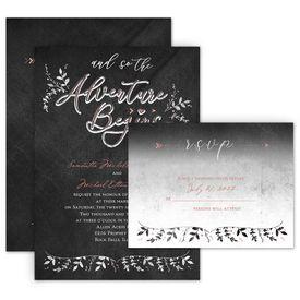 Wedding Invitations: The Adventure Begins Invitation with Free Response Postcard