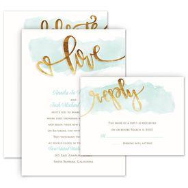 Elegant Wedding Invitations: Watercolor Love Invitation with Free Response Postcard