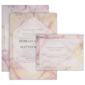 Elegant Wedding Invitations: Rose Quartz Invitation with Free Response Postcard