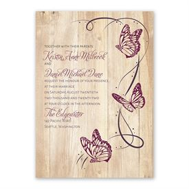 Butterfly Swirl Invitation with Free Response Postcard