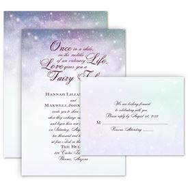 Romantic Wedding Invitations: Our Fairy Tale Invitation with Free Response Postcard
