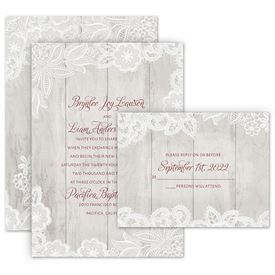 Wedding Invitations: Weathered Lace Invitation with Free Response Postcard