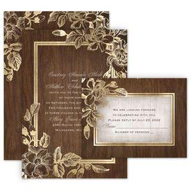 Rustic Wedding Invitations: Gold Magnolias Invitation with Free Response Postcard