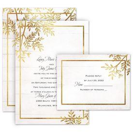 Greenery Wedding Invitations: Country Glam Invitation with Free Response Postcard