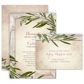 Rustic Wedding Invitations: Country Greenery Invitation with Free Response Postcard