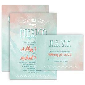 Beach Wedding Invitations: Destination Mexico Invitation with Free Response Postcard