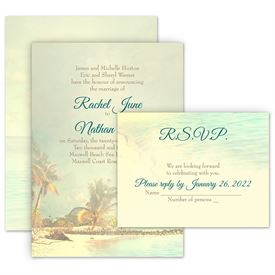 Beach Wedding Invitations: Beach Life Invitation with Free Response Postcard