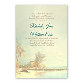 Beach Life Invitation with Free Response Postcard