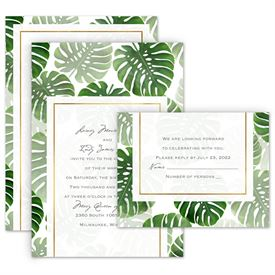 Beach Wedding Invitations: Pretty Palms Invitation with Free Response Postcard