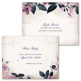 Victorian Floral - Invitation with Free Response Postcard