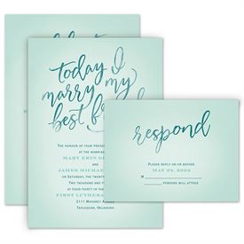 Watercolor Wedding Invitations: Today I Marry Invitation with Free Response Postcard