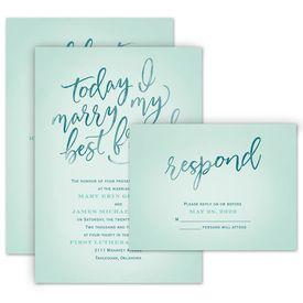 Romantic Wedding Invitations: Today I Marry Invitation with Free Response Postcard