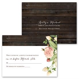 Rustic Floral - Invitation with Free Response Postcard