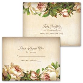 Antique Rose - Invitation with Free Response Postcard