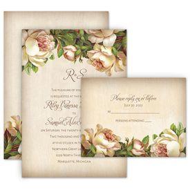 Boho Wedding Invitations: Antique Rose Invitation with Free Response Postcard