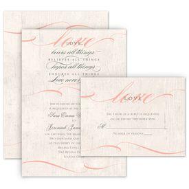 Elegant Wedding Invitations: Love Endures Invitation with Free Response Postcard