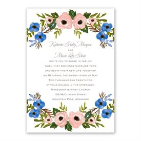 Blooming Beauty Invitation with Free Response Postcard