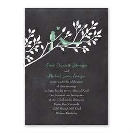 Chalkboard Lovebirds Invitation with Free Response Postcard