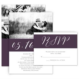 Modern Wedding Invitations: Pure Portrait Invitation with Free Response Postcard