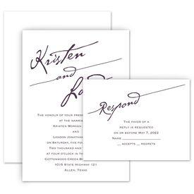 Wedding Invitations: Elegant Script Invitation with Free Response Postcard