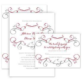 Wedding Invitations: Swirling Beauty Invitation with Free Response Postcard