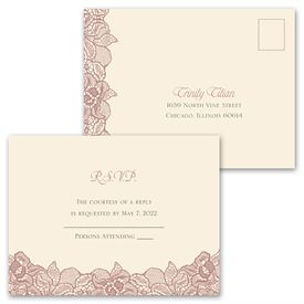 Lace Embrace - Invitation with Free Response Postcard