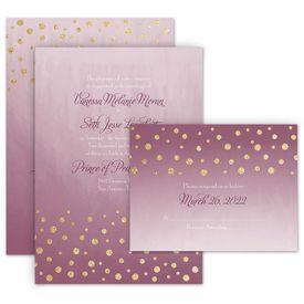 Elegant Wedding Invitations: Gold Dust Faux Glitter Invitation with Free Response Postcard