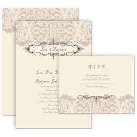Elegant Wedding Invitations: Crest and Flourish Invitation with Free Response Postcard