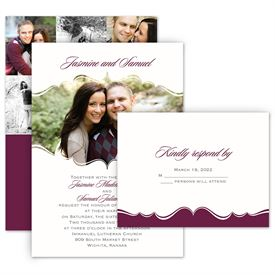 Modern Wedding Invitations: Sophisticated Frame Invitation with Free Response Postcard