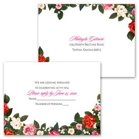 Boho Floral - Invitation with Free Response Postcard