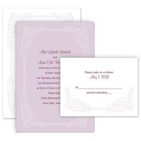 Elegant Wedding Invitations: Modern Scrollwork Invitation with Free Response Postcard