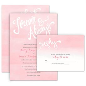 Watercolor Wedding Invitations: Forever And Always Invitation with Free Response Postcard