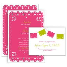 Invitations under $.99 each: Festive Fiesta Invitation with Free Response Postcard