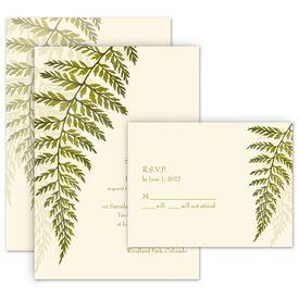 Greenery Wedding Invitations: Woodland Fern Invitation with Free Response Postcard