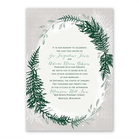 Sweet Evergreens Invitation with Free Response Postcard