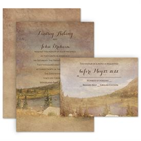 Rustic Wedding Invitations: In the Mountains Invitation with Free Response Postcard