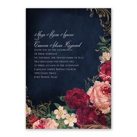 Florals and Flourishes Invitation with Free Response Postcard