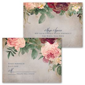 Florals and Flourishes - Invitation with Free Response Postcard