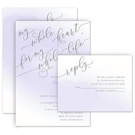 Watercolor Wedding Invitations: Love and Life Invitation with Free Response Postcard