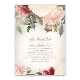 Blush Floral Invitation with Free Response Postcard