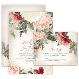 Floral Wedding Invitations: Blush Floral Invitation with Free Response Postcard