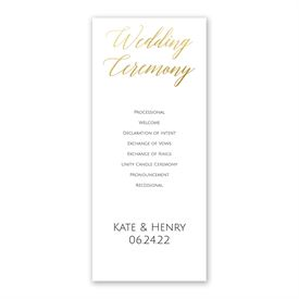 Gold Faux Foil Wedding Program