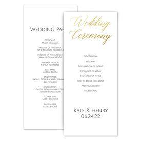 Wedding Programs: Gold Faux Foil Wedding Program